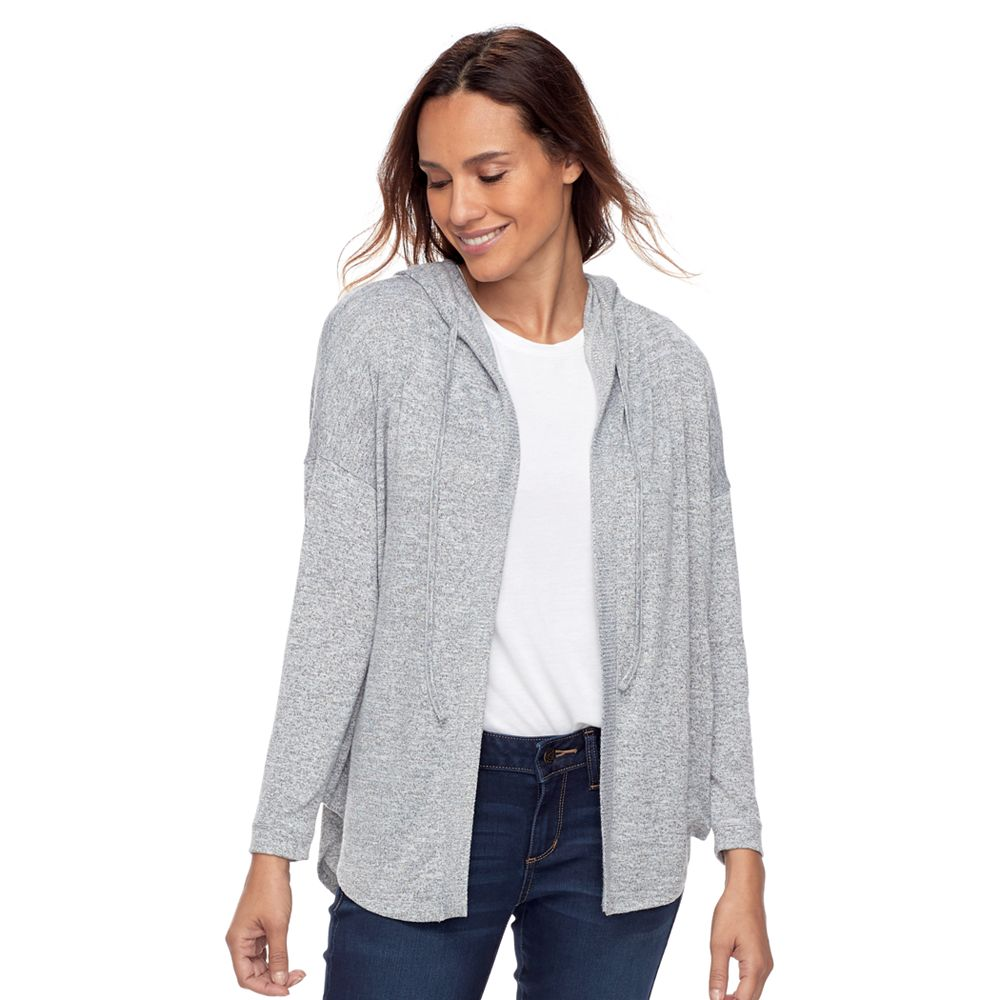 SONOMA Goods for Life™ Hooded Open-Front Fleece Cardigan