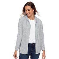 Petite SONOMA Goods for Life™ Hooded Open-Front Fleece Cardigan