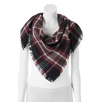 Candie's® Plaid Frayed Triangle Scarf