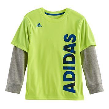 Boys 4-7x adidas Mock-Layer Logo Tee