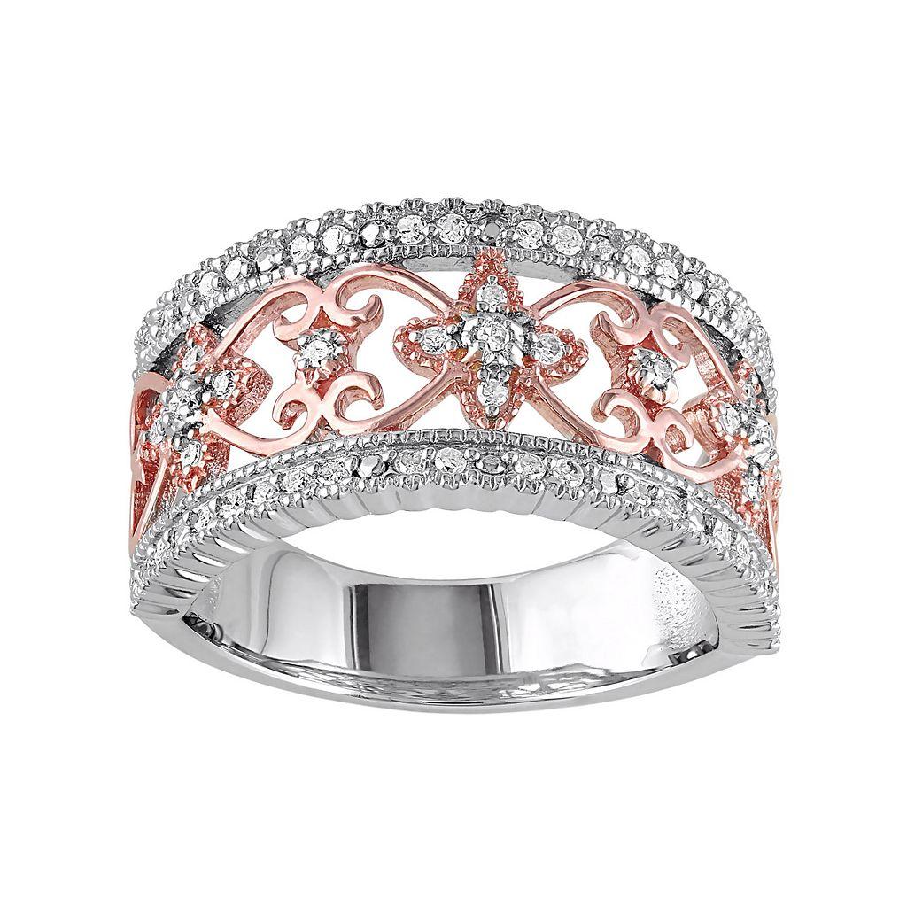 Two Tone Sterling Silver 1/4 Carat T.W. Diamond Filigree Ring