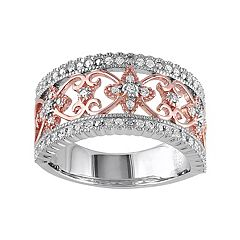 Stella Grace Two Tone Sterling Silver 1/4 Carat T.W. Diamond Filigree Ring