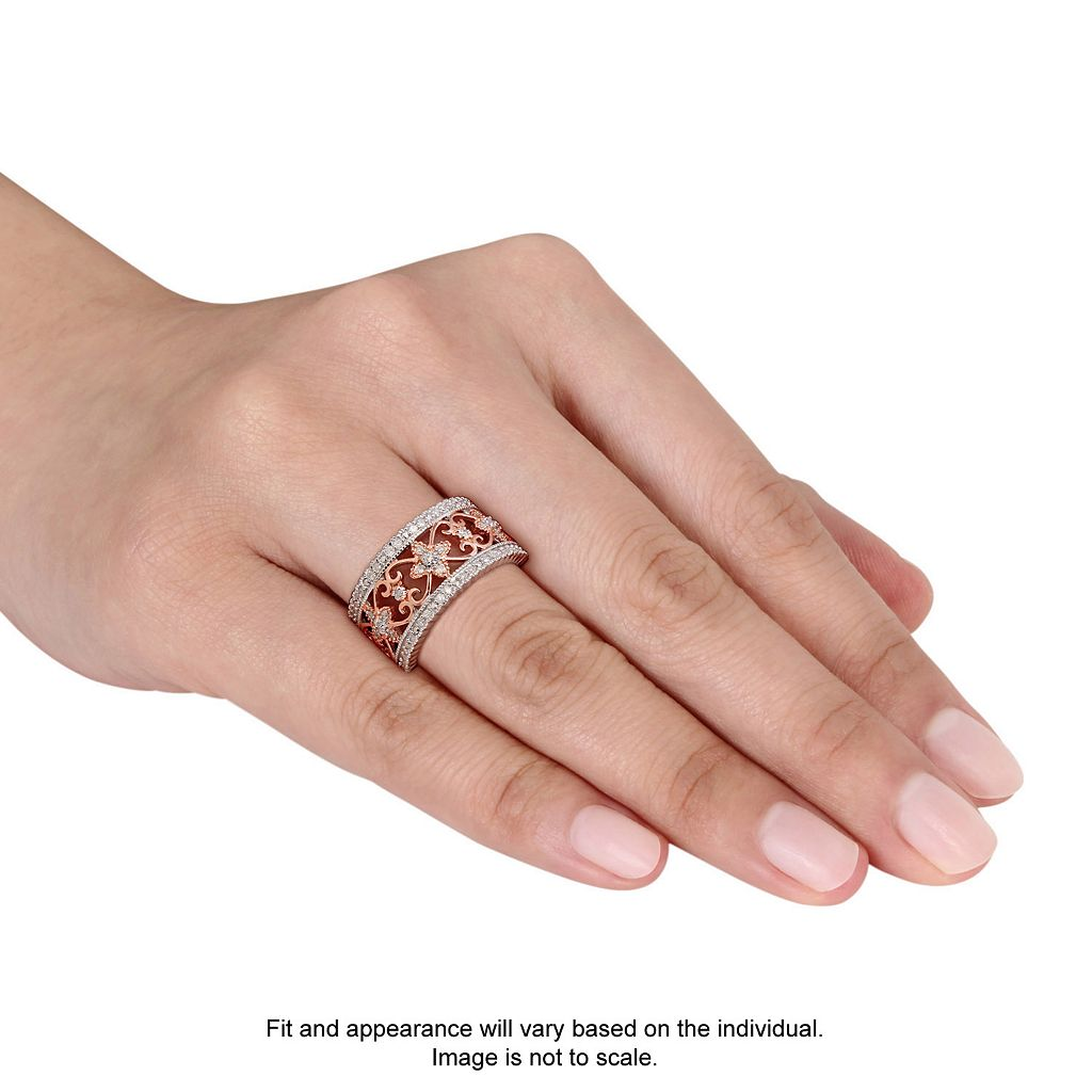 Two Tone Sterling Silver 1/4 Carat T.W. Diamond Filigree Ring