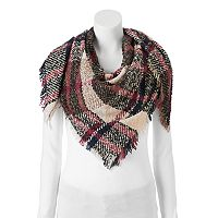 Candie's® Boucle Plaid Frayed Triangle Scarf