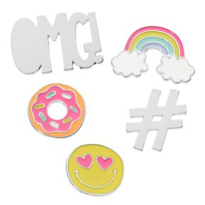 "Emoji, Hashtag, Donut, Rainbow & ""OMG!"" Pin Set"