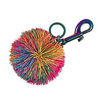 Rainbow Rubber Pom Pom Key Chain