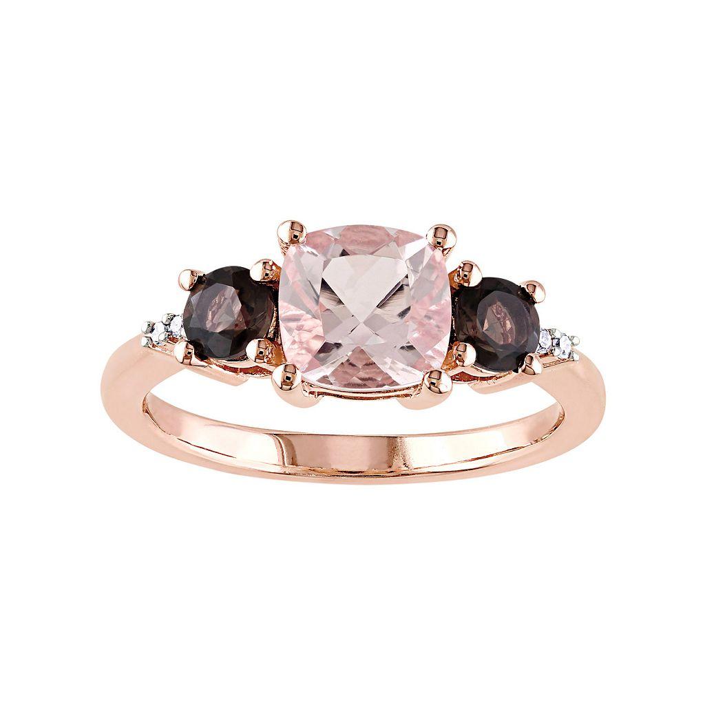 Sterling Silver Morganite, Smoky Quartz & Diamond Accent Ring
