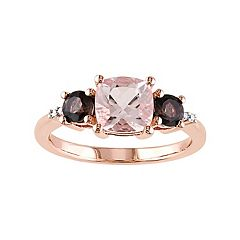 Sterling Silver Morganite,  Smoky Quartz & Diamond Accent Ring