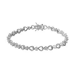 Dovetail Silver Plated Cubic Zirconia Heart Tennis Bracelet