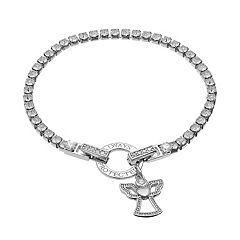 Dovetail Silver Plated 'Always Be Protected' Cubic Zirconia Tennis Bracelet