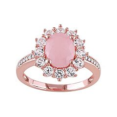 Stella Grace Sterling Silver Pink Quartz, Lab-Created Sapphire & Diamond Accent Ring