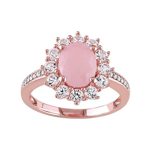 Sterling Silver Pink Quartz, Lab-Created Sapphire & Diamond Accent Ring
