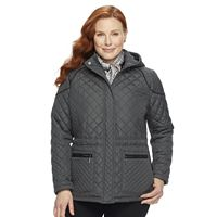 Plus Size Weathercast Quilted Hooded Jacket