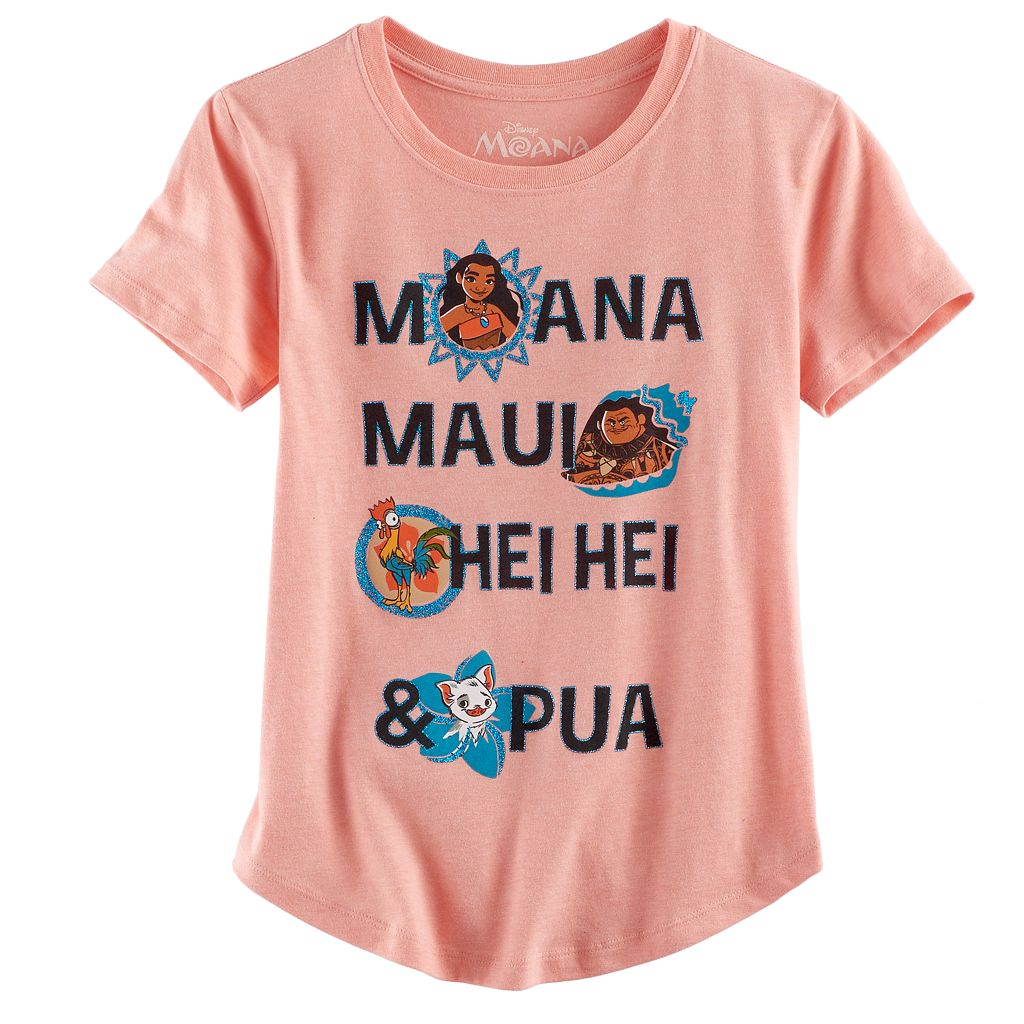 Disney's Moana Girls 7-16 Moana, Maui, Hei Hei & Pua Glitter Graphic Tee