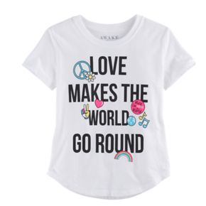 "Girls 7-16 ""Love Makes the World Go Round"" Graphic Tee"