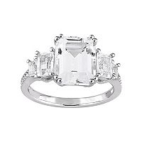 Sterling Silver White Topaz & Diamond Accent Ring