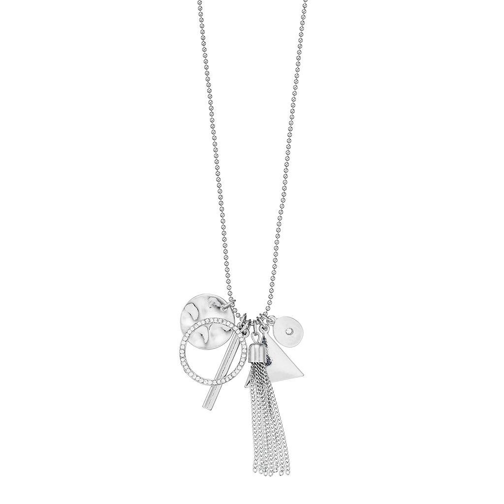 Mudd® Geometric Charm Tassel Necklace