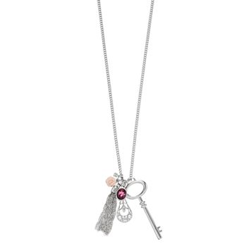 Mudd® Rosette, Skeleton Key & Tassel Charm Necklace