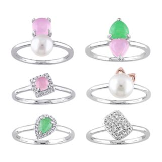 Sterling Silver Gemstone, Freshwater Cultured Pearl & Diamond Accent Ring