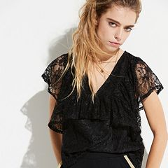 k/lab Sheer Back Lace Top