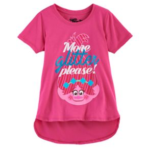 "Girls 7-16 DreamWorks Trolls Poppy ""More Glitter Please"" High-Low Graphic Tee"