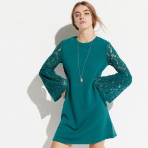k/lab Lace Sleeve Sweatshirt Dress