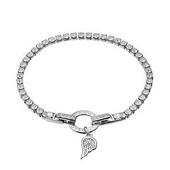 Dovetail Silver Plated Cubic Zirconia 'Watch Over Me' Tennis Bracelet