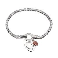 Dovetail Silver Plated Mother Daughter Cubic Zirconia Tennis Bracelet