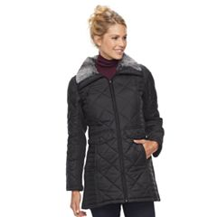 Women's Weathercast Faux Fur Trim Ribbed Knit Sleeve City Walker Jacket