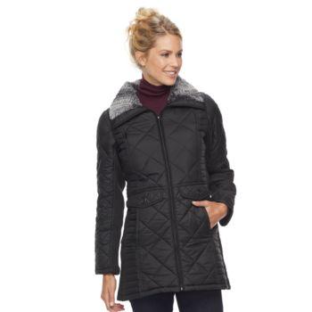 Women's Weathercast Faux Fur Trim Ribbed Knit Sleeve City Walker Jacket