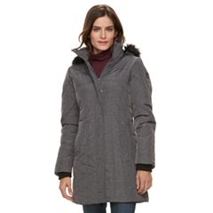 Women's Weathercast Hooded Faux-Fur Trim Walker Jacket