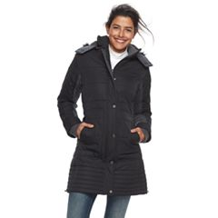 Women's Weathercast Mixed-Media Faux-Fur Trim Puffer Jacket