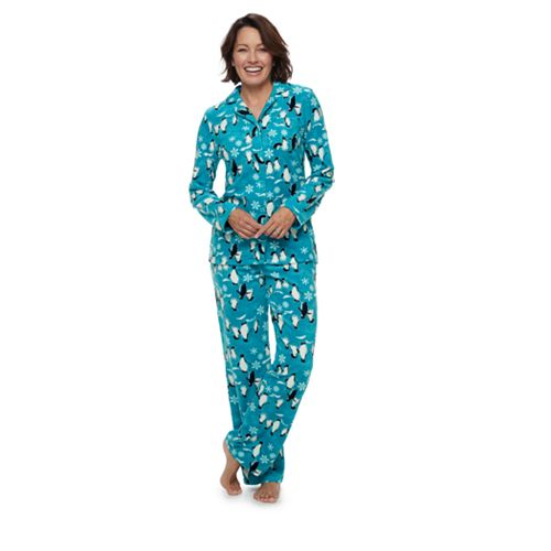 Women s Jammies For Your Families Penguin Pattern Button-Front Sleep Top    Bottoms Pajama Set 656ec9c57