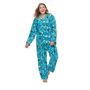 Women's Plus Jammies For Your Families Penguin Pattern Button-Front Top & Bottoms Pajama Set