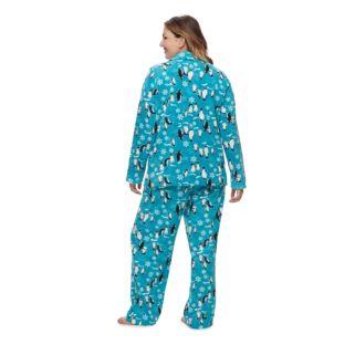 Women's Plus Jammies For Your Families Penguin Pattern Button-Front Top & Bottoms Pajama Set