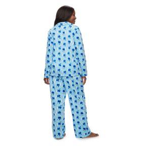 Women's Plus Jammies For Your Families Hanukkah Polar Bear Button-Front Top & Bottoms Pajama Set