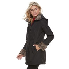 Women's Weathercast Faux-Fur Trim Hooded Rain Jacket