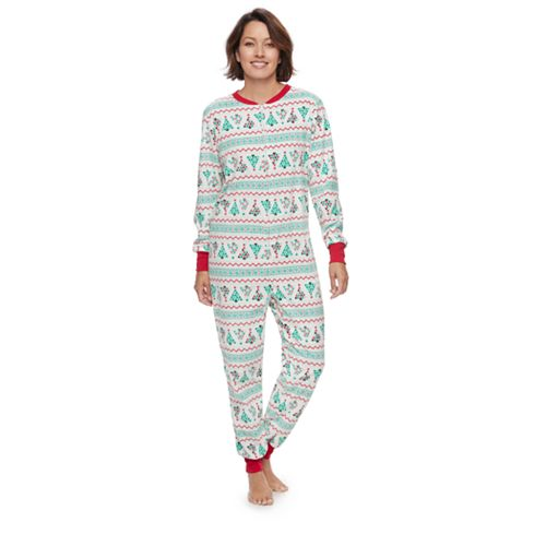 Women's Jammies For Your Families Christmas Tree Fairisle One-Piece Fleece Pajamas