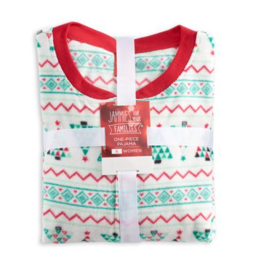 Women's Jammies For Your Families Christmas Tree Fairisle One-Piece Fleece Pajamas