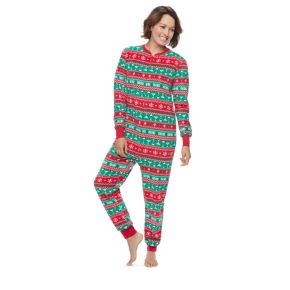 Women's Jammies For Your Families Cheers Fairisle One-Piece Fleece Pajamas