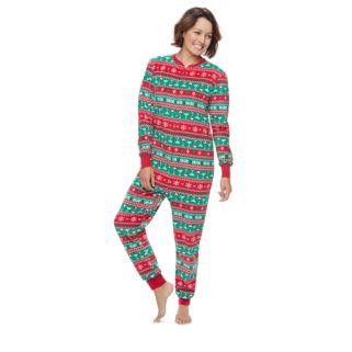 Women's Jammies For Your Families Cheers Fairisle One-Piece Fleece Pajamas