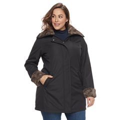Plus Size Weathercast Faux-Fur Trim Hooded Rain Jacket