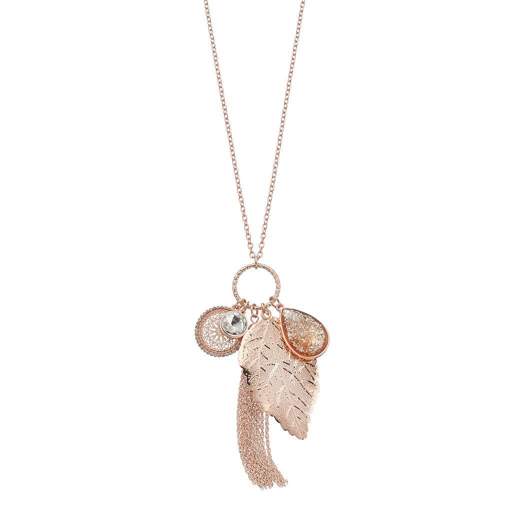 Mudd® Leaf, Medallion & Tassel Charm Necklace