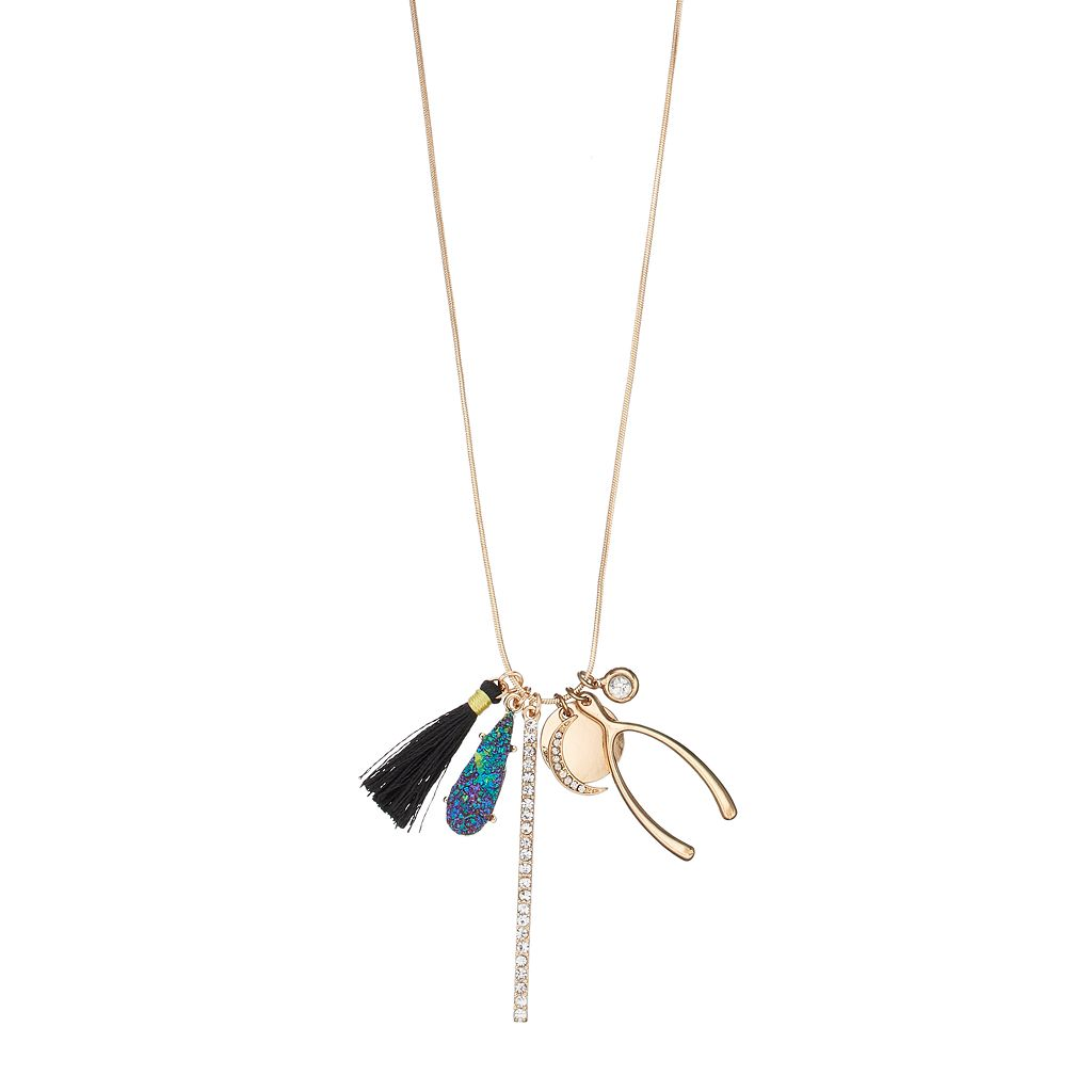 Mudd® Crescent, Wishbone & Tassel Charm Necklace