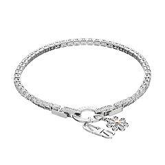 Dovetail Two Tone Cubic Zirconia 'Sis' Charm Tennis Bracelet