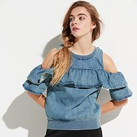 k/lab Cold-Shoulder Chambray Sweatshirt