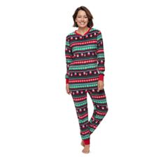 Women's Jammies For Your Families Snowman Fairisle One-Piece Fleece Pajamas