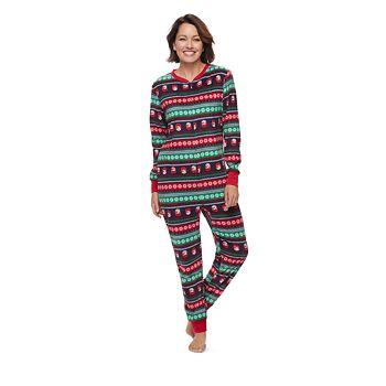 Women's Jammies For Your Families Snowman Fairisle One-Piece Fleece Pajamas