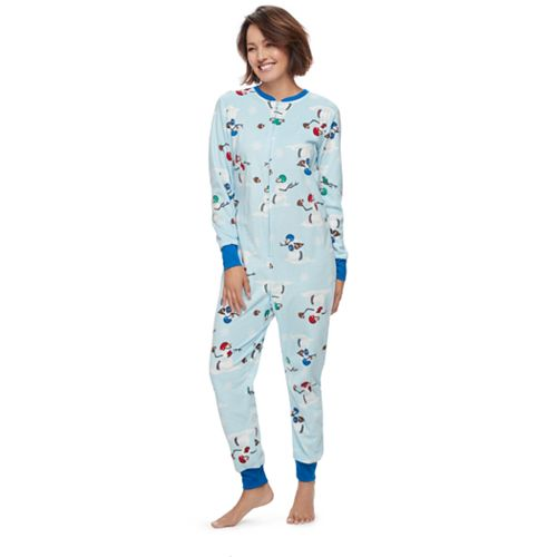 32ce85c12 Women s Jammies For Your Families Football Snowmen One-Piece Fleece ...