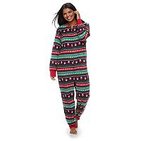 Women's Plus Jammies For Your Families Snowman Fairisle One-Piece Fleece Pajamas